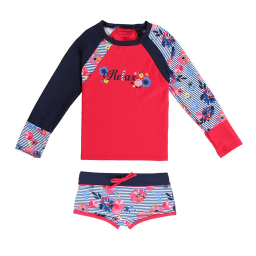 Nano Two Pieces Swimsuit Rashguard Red