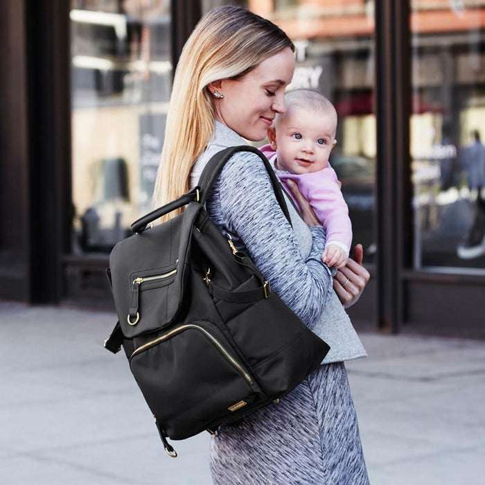 Skip Hop Chelsea Downtown Chic Diaper Backpack - Black - CanaBee Baby