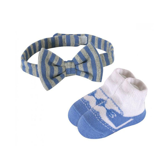 Stephan Baby Bow Tie & Sock Set - Blue - CanaBee Baby
