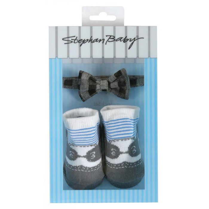 Stephan Baby Bow Tie & Sock Set - Gray - CanaBee Baby