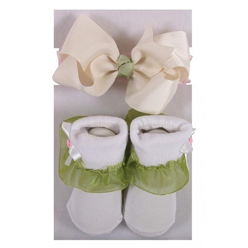 Stephan Baby Headband & Socks Set - Cream/Green - CanaBee Baby
