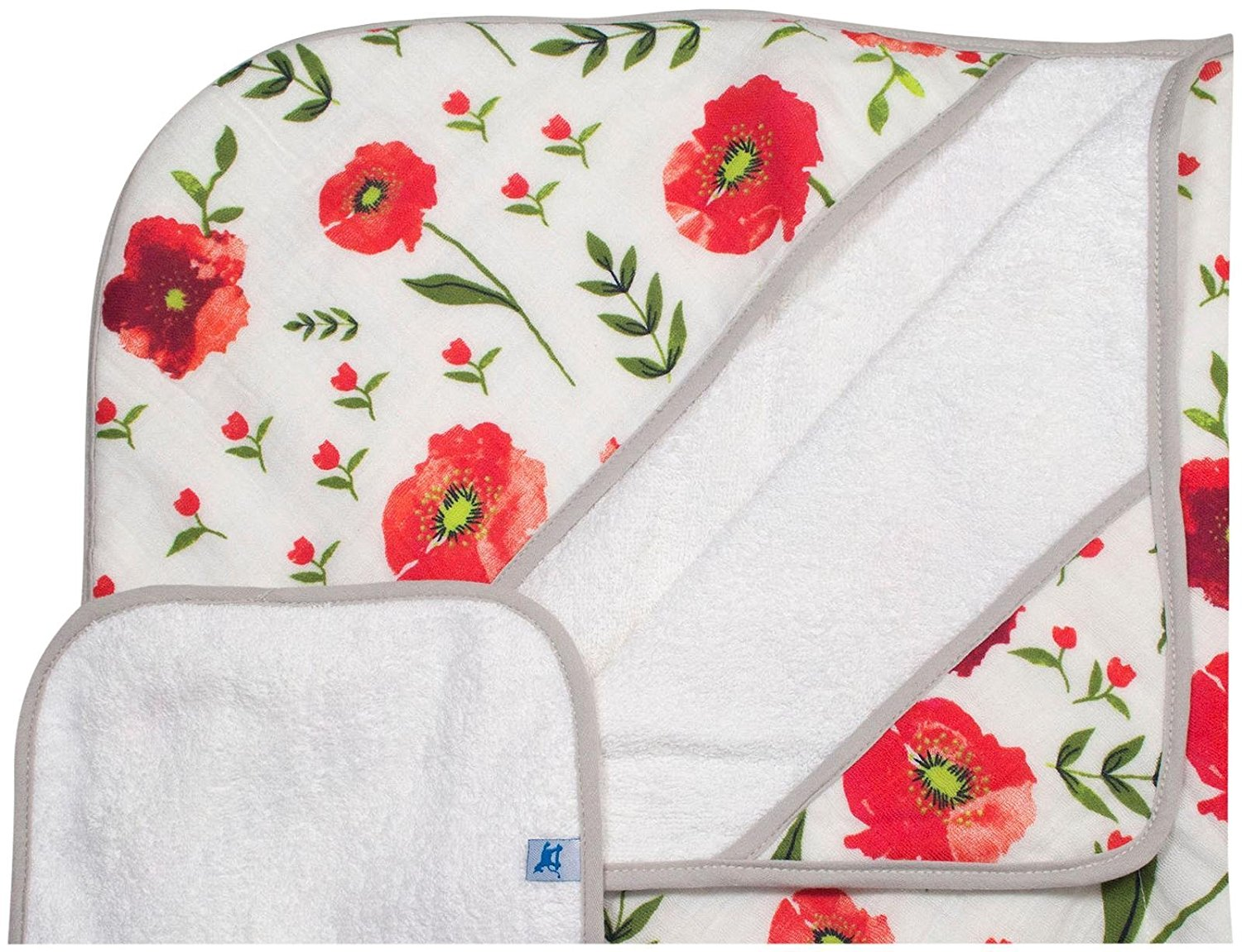 Little Unicorn Cotton Hooded Towel & Wash Cloth Set - Summer Poppy
