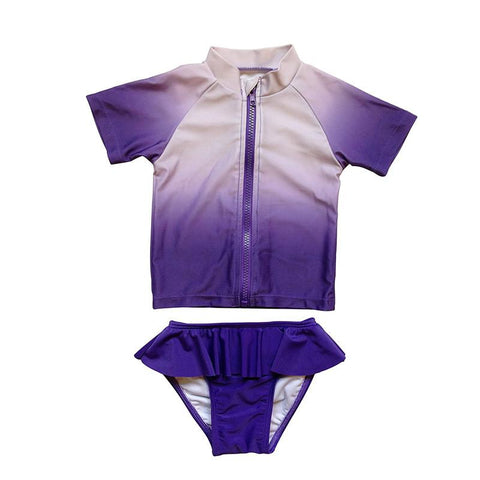 SwimZip Purple Peekaboo Girl Rash Guard Swimsuit Set with SPF - CanaBee Baby
