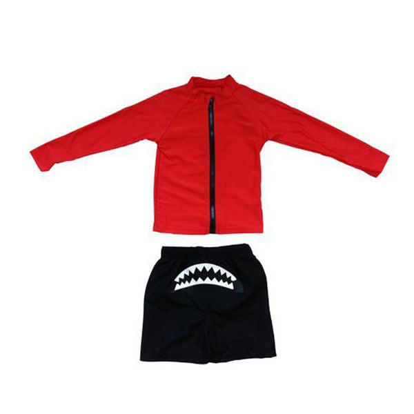 SwimZip Shark Attack Long Sleeve Rash Guard Set - CanaBee Baby