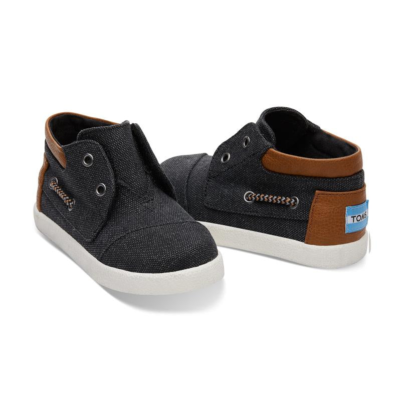 Toms Black Washed Canvas Tiny Bimini High Sneakers - CanaBee Baby