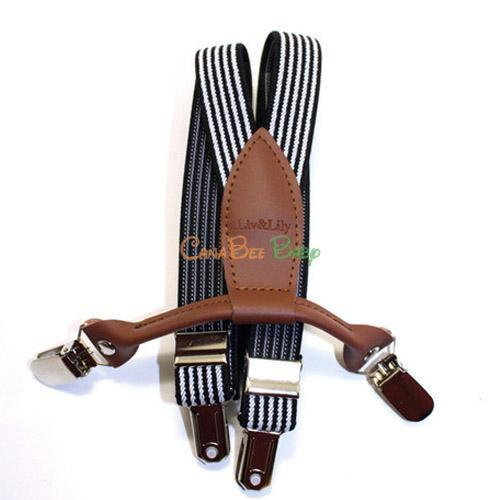 Liv& Lily Suspenders Black& White Striped - CanaBee Baby
