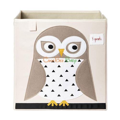 3 Sprouts Storage Box - Owl Beige - CanaBee Baby