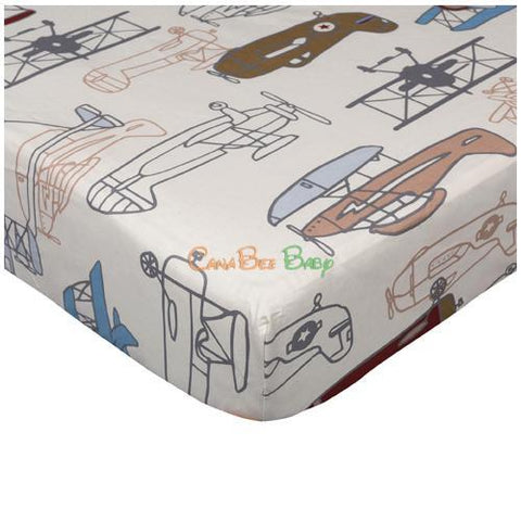 Lolli Living Crib Fitted Sheet - Aeroplanes print - CanaBee Baby