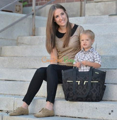 JJ Cole Camber Diaper Bag in Black/Gold - CanaBee Baby