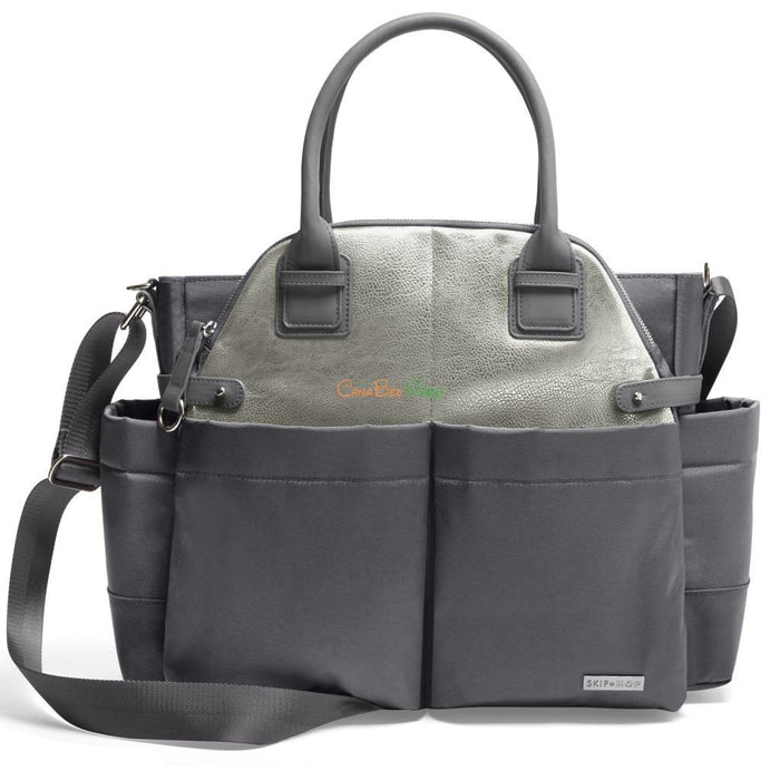 Skip Hop Chelsea Downtown Chic Diaper Satchel - Charcoal Shimmer/Grey - CanaBee Baby