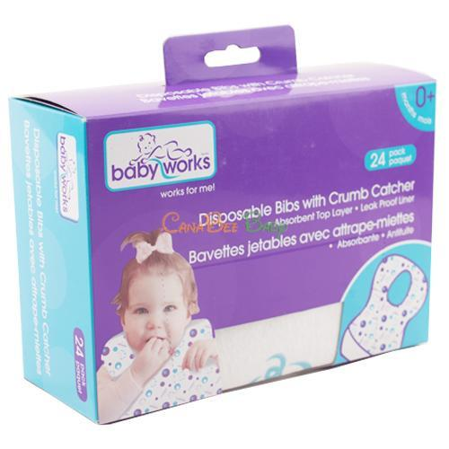 Baby Works Disposable Bibs 24pk - CanaBee Baby