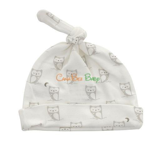 Silkberry Baby Printed Knot Hat Owl 0-6m - CanaBee Baby