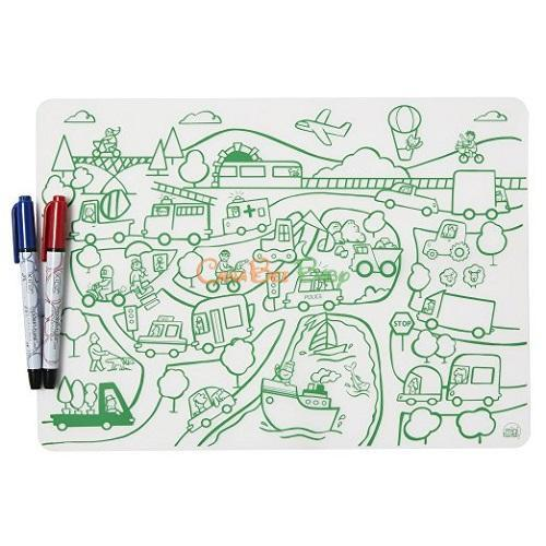 Modern Twist Mini Twist Doodle Mat Set - Transportation + 2 Markers - CanaBee Baby