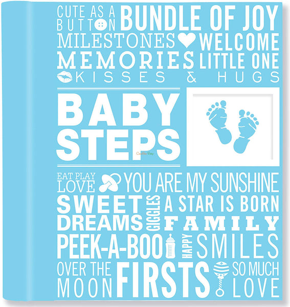 Baby Steps: Baby's First-Year Album - Blue - CanaBee Baby