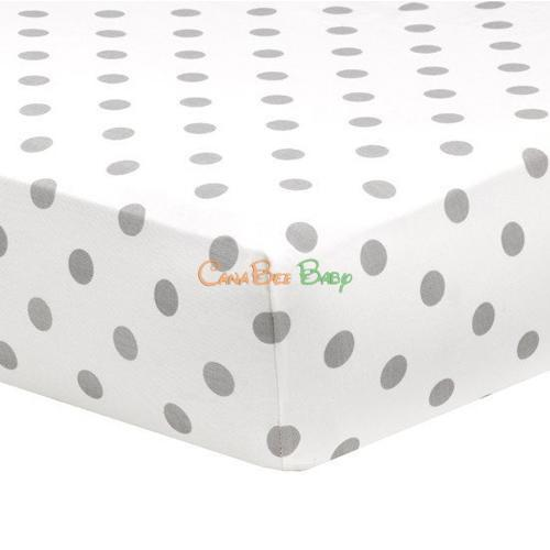 Liz and Roo Crib Sheet(Made in USA) - Gray Polka Dots
