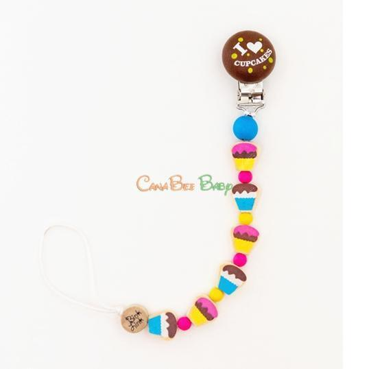 Bink Link Pacifier Clips - I Love Cupcake - CanaBee Baby