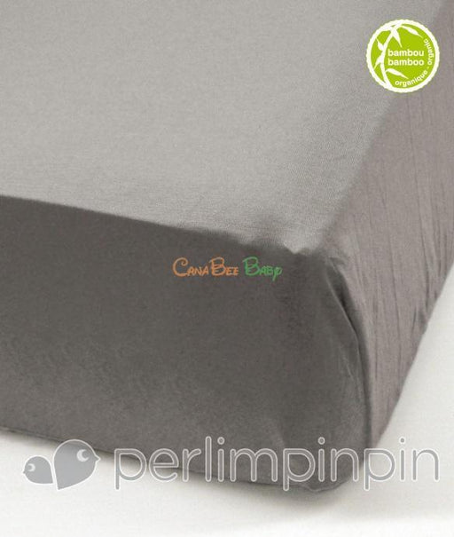 Perlim Pin Pin Bamboo Fitted Sheet in Choco - CanaBee Baby