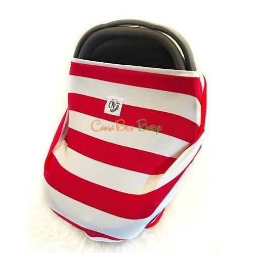 The Over Company Multi Use Baby Cover - Maple Leaf Stripe - CanaBee Baby