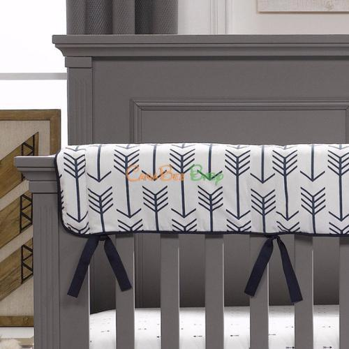 Liz and Roo Crib Rail Cover(Made in USA) - Navy Anchors - CanaBee Baby