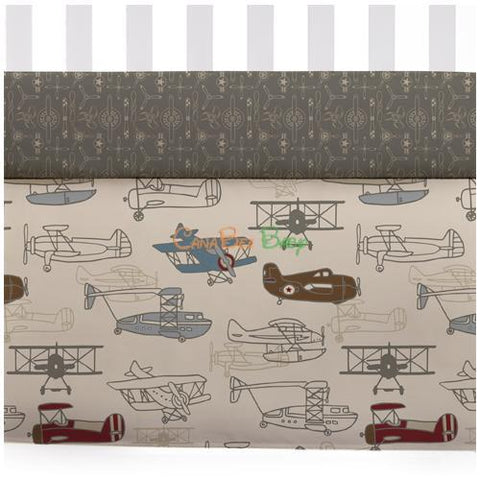 Lolli Living Crib Bed Skirt - Aeroplanes - CanaBee Baby