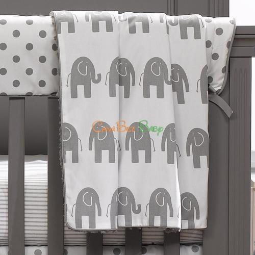 Liz and Roo Receiving Blanket - Gray Elephant - CanaBee Baby