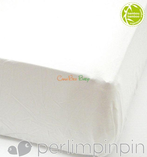 Perlim Pin Pin Bamboo Fitted Sheet in Ivory - CanaBee Baby
