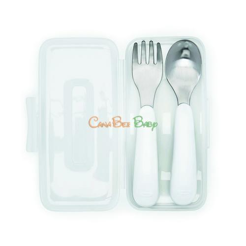 OXO On-the-Go Fork and Spoon Set with Case - Pink - CanaBee Baby