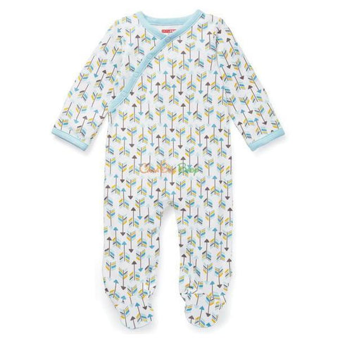 Skip Hop Boho Feather Side-Snap Footies - Blue - CanaBee Baby