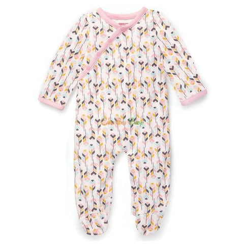 Skip Hop Boho Feather Side-Snap Footies - Pink
