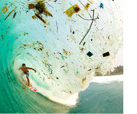 Zak Noyle photo of a surfer inside of a wave filled with trash, called Wave of Change