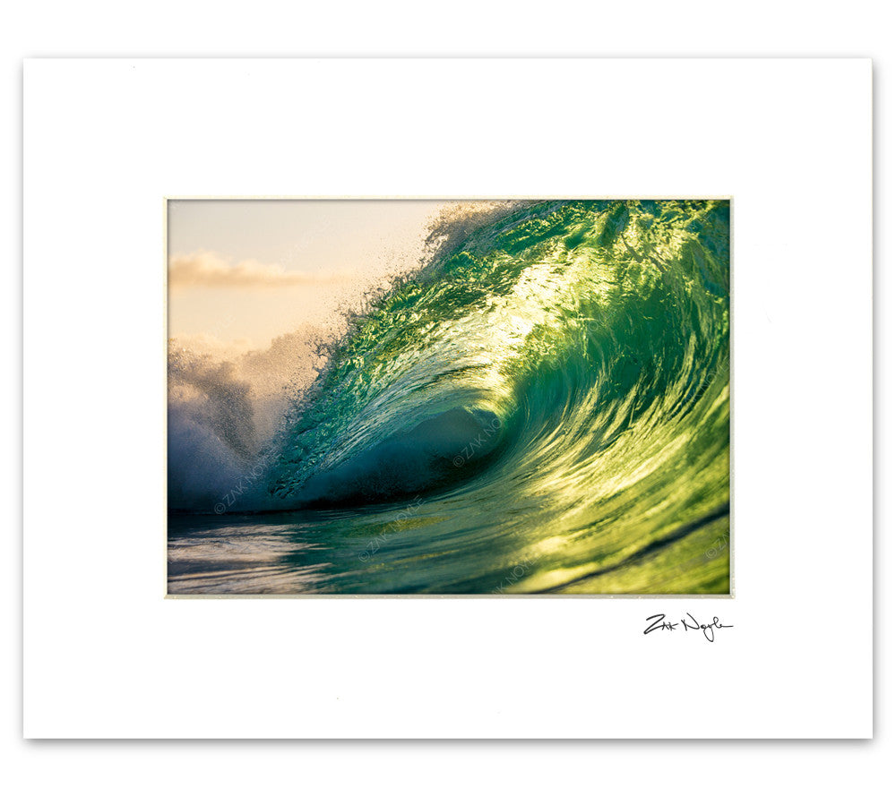green glow wave photograph by zak noyle matted photo print