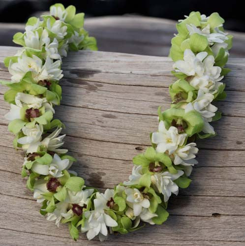 Triple Tuberose / Green Orchid Lei (5-PACK)