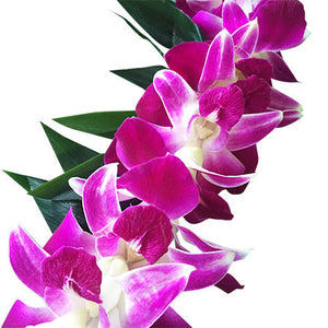 Maile Style Ti leaf lei with purple orchid wrap