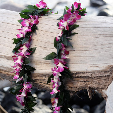 Maile style ti leaf lei with orchid wrap