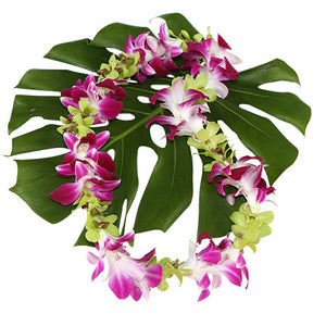Purple and Green Orchid Lei