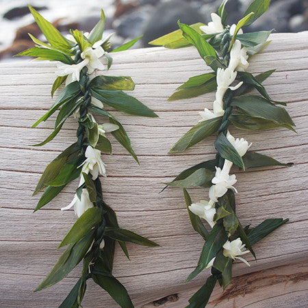 Ti Maile Leaf Lei with Tuberose