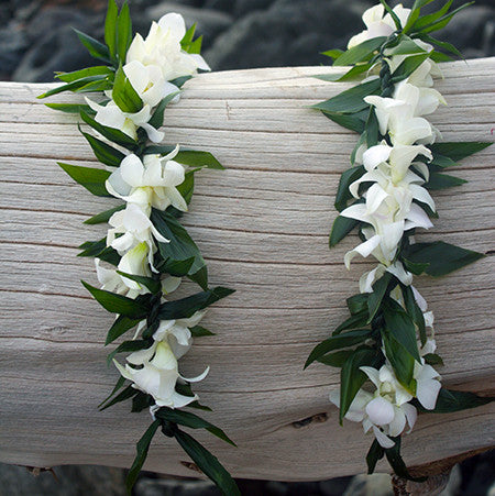 Ti Leaf lei with white Orchid Wrap