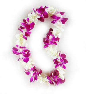 Single white & purple Orchid Lei - SUPERSAVER