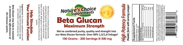 Beta Glucan Maximum Strength 100 Grams in Raw Powder Form
