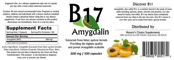 Vitamin B17 Amygdalin 500mg 100 Capsules / Plus Vitamin B15 Bottle Free