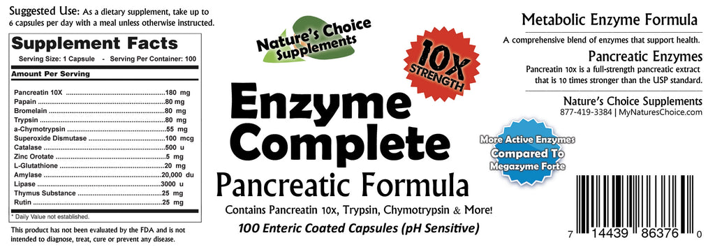 Enzyme Complete 10x Pancreatic Formula – Nature\'s Choice Supplements