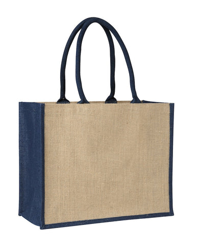Contrast Blue Laminated Jute Supermarket Bag