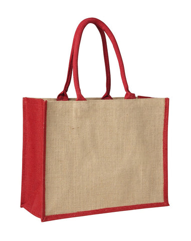 Contrast Red Laminated Jute Supermarket Bag