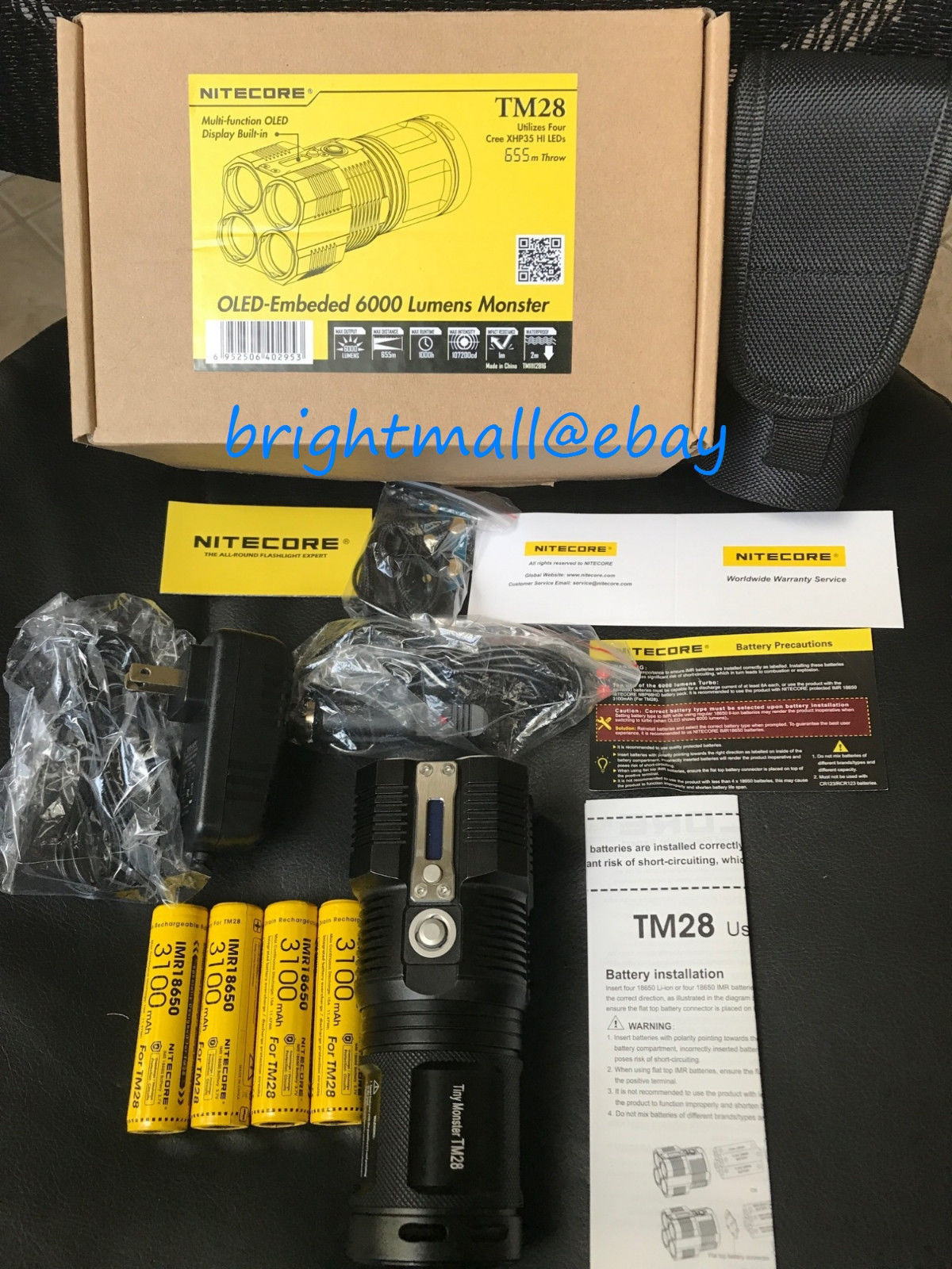 NEW Nitecore TM28 6000 Lumen LED Flashlight With 4 3100MAH IMR BATTERY TM26 Upgrade