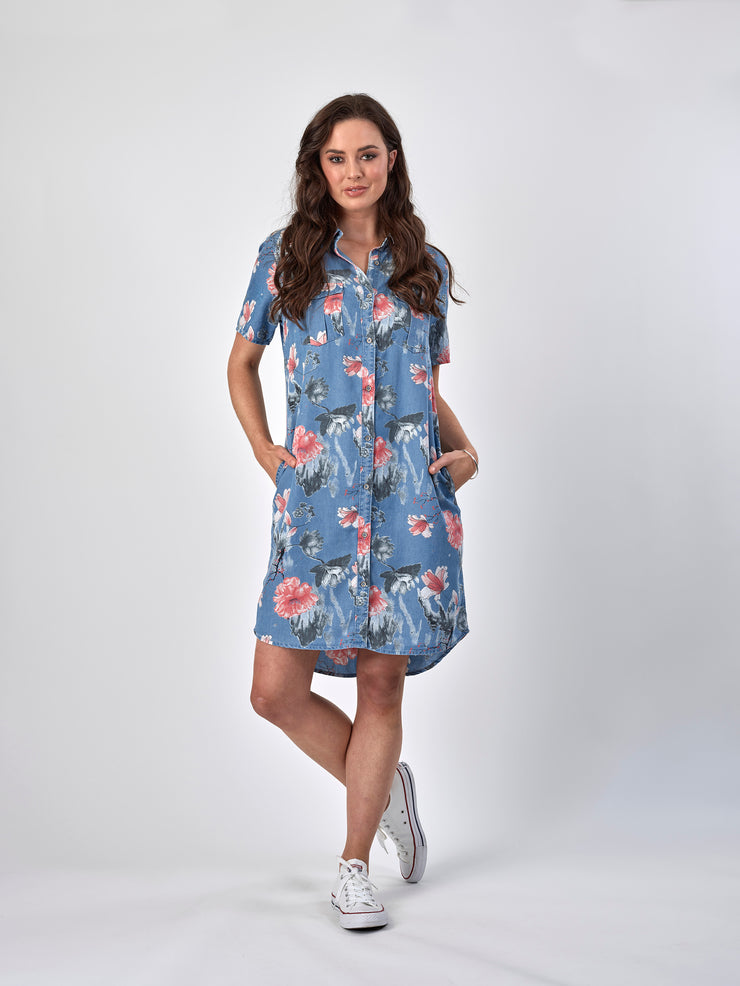 Vassalli Button Front Shirt Dress