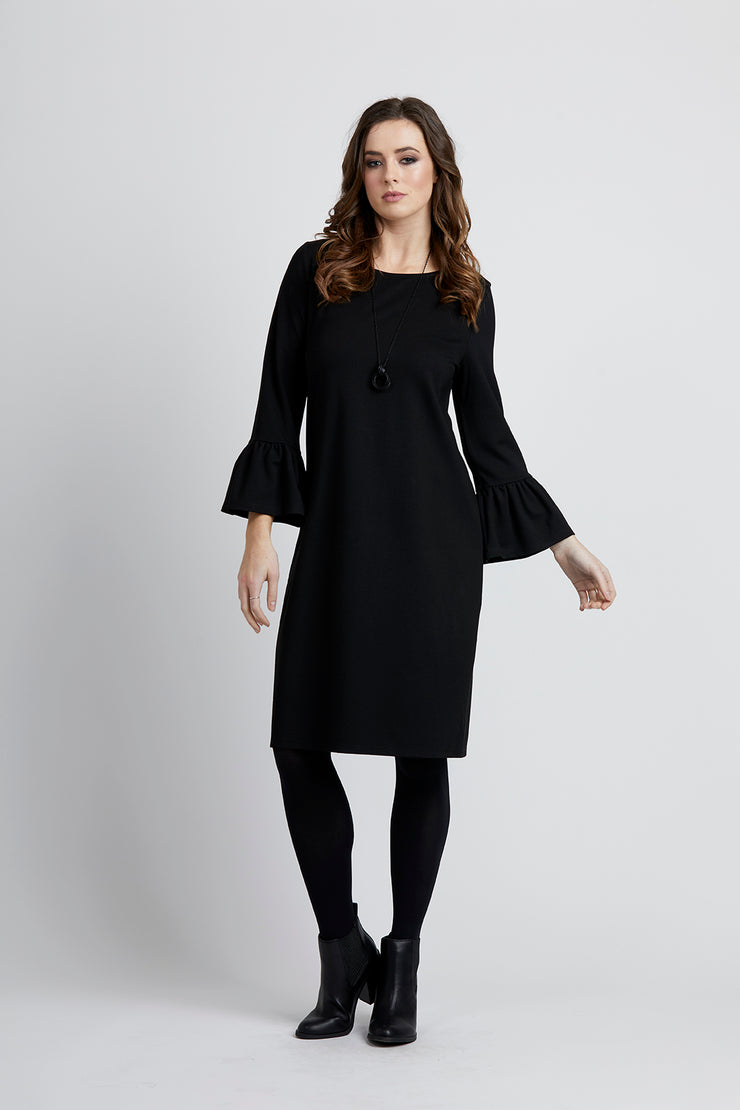 Vassalli Elbow Length Frill Sleeve Dress