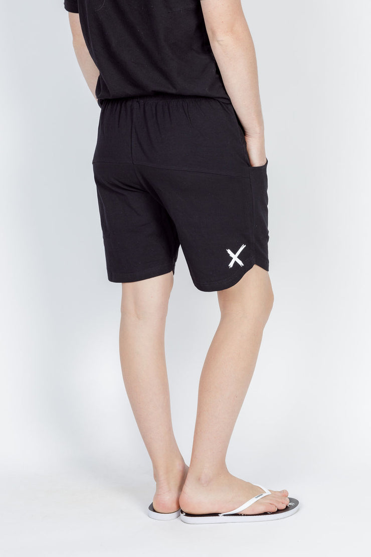Home Lee Apartment Shorts black with white X