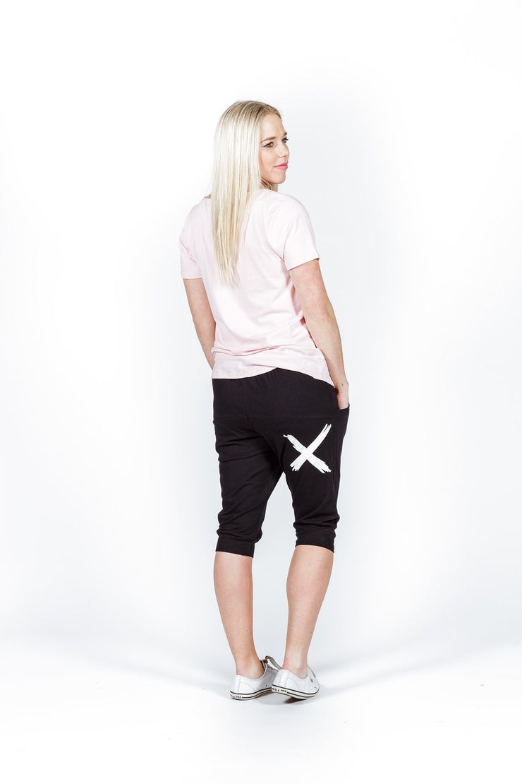home-lee 3/4 apartment pants black with white x