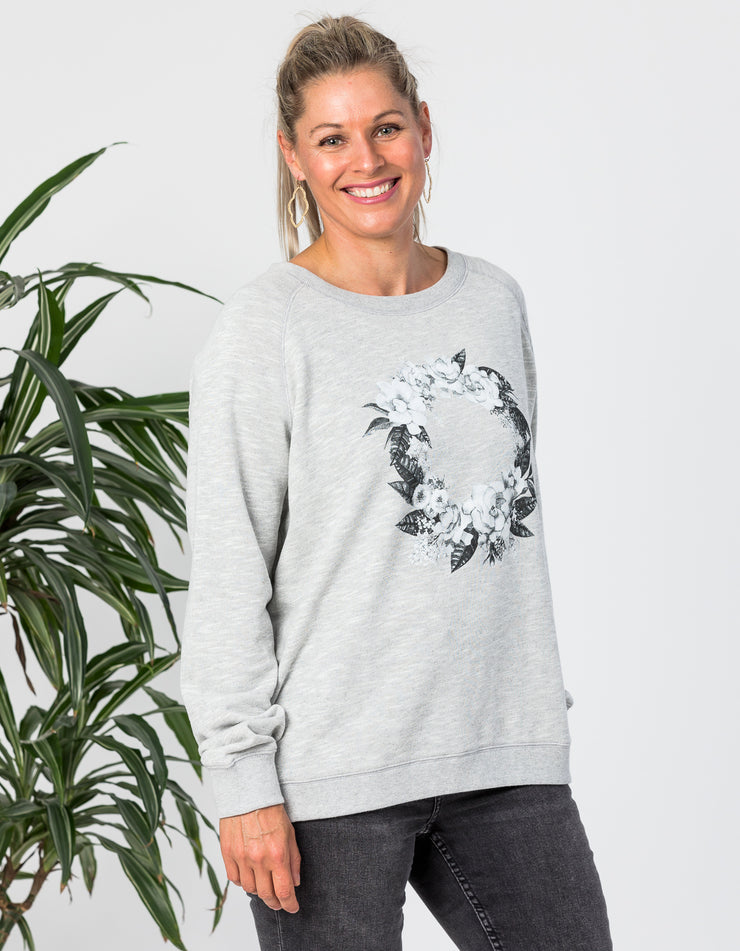Stella and Gemma Floral Wreath Sweater