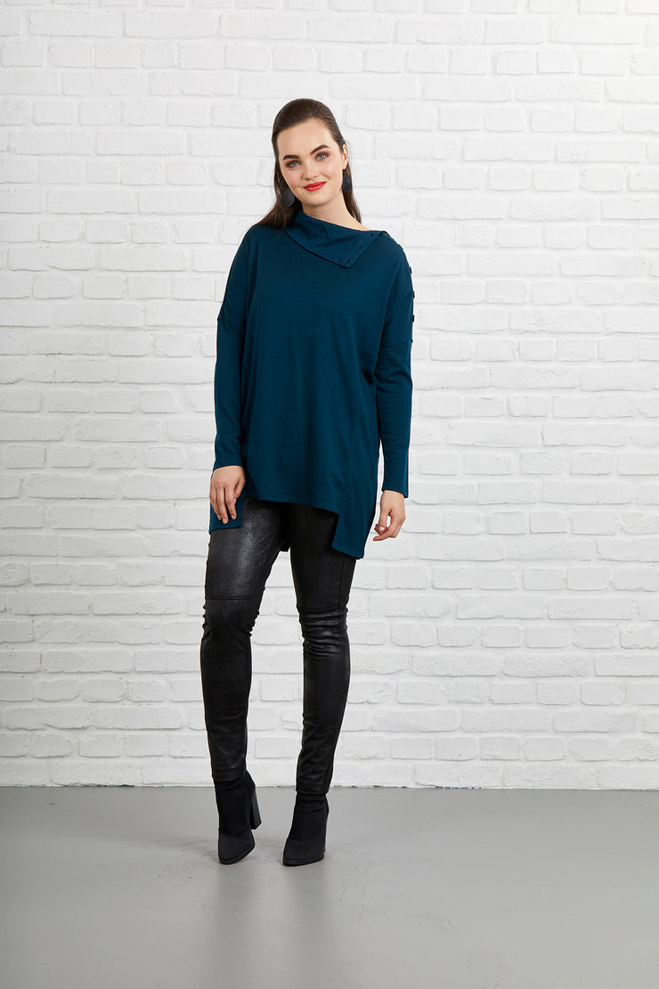 Siren Button Neck Angled Jumper